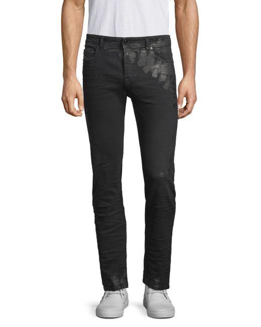 Diesel Black Gold - Black Distressed Coated Slim-fit Jeans for Men - Lyst