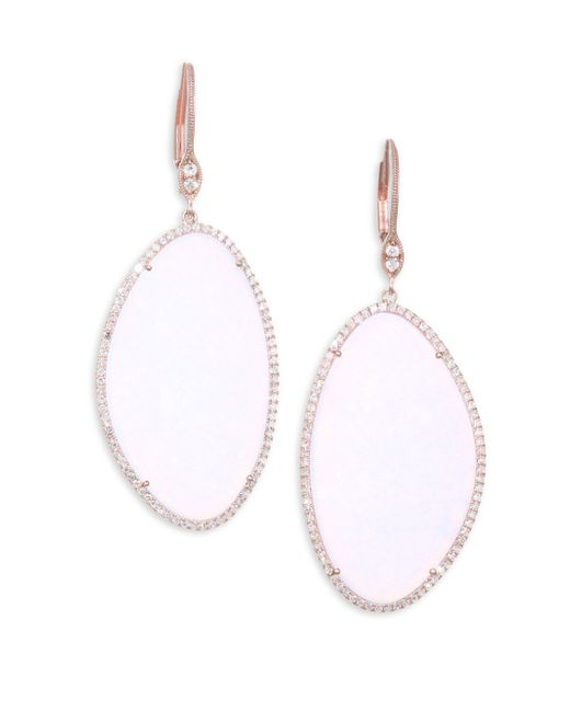 Meira T - Metallic Moonstone & Diamond Rose Gold Earrings - Lyst