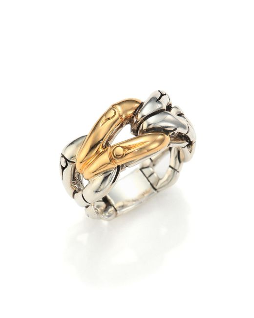 John Hardy | Metallic Bamboo 18k Yellow Gold & Sterling Silver Link Ring | Lyst