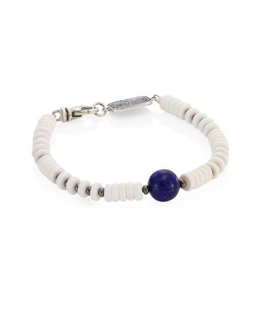 King Baby Studio   Sterling Silver, Round Lapis & White Shell Bead Bracelet   Lyst