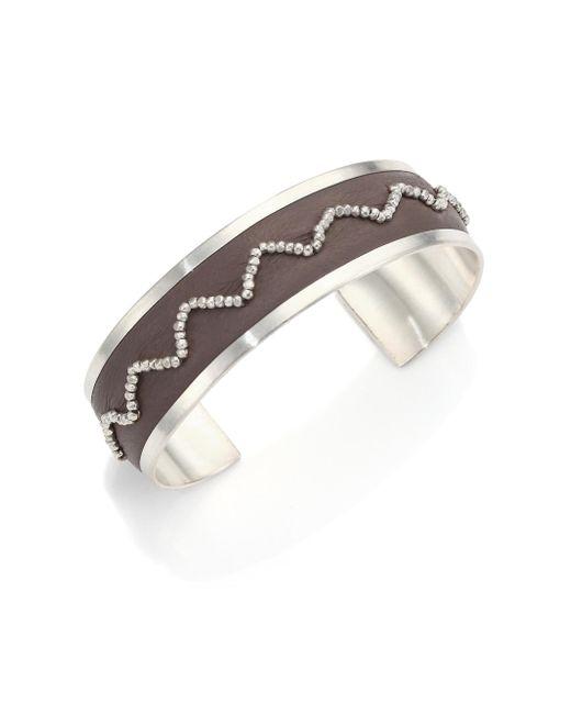 Chan Luu - Metallic Beaded Leather & Sterling Silver Cuff Bracelet - Lyst