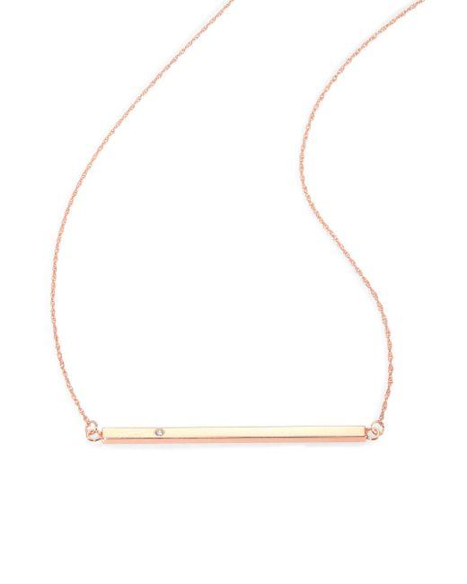 Jennifer Zeuner - Pink Chelsea Diamond Horizontal Bar Necklace - Lyst