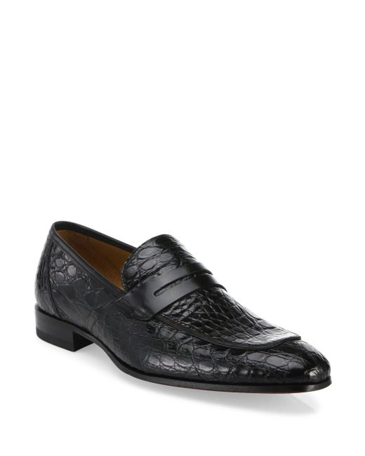 Mezlan | Black Crocodile Penny Loafers for Men | Lyst