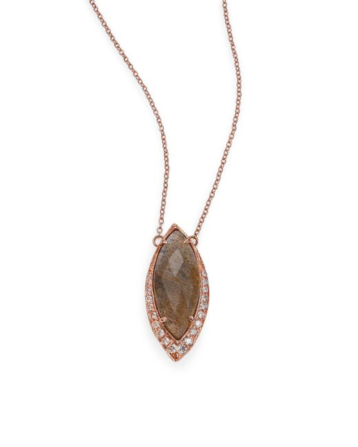 Jacquie Aiche - Pink Labradorite, Diamond & 14k Rose Gold Marquis Necklace - Lyst