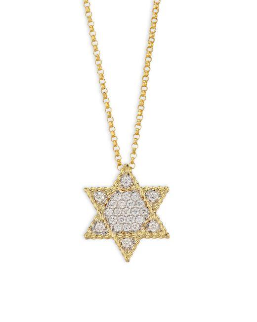 Roberto Coin - Metallic Tiny Treasures Diamond & 18k Yellow Gold Star Of David Necklace - Lyst