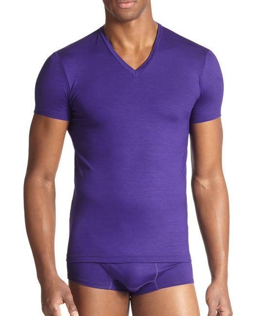 DSquared² - Purple Slim Fit Jersey V-neck Tee for Men - Lyst