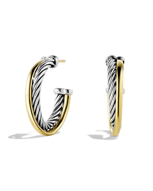 David Yurman | Metallic 18k Yellow Gold & Sterling Silver Crossover Hoop Earrings/1 | Lyst