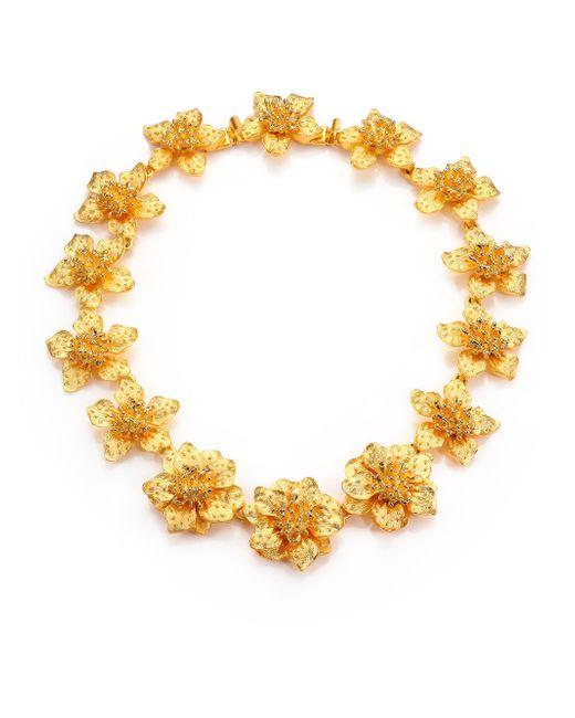 Kenneth Jay Lane | Metallic Satin-finish Flower Necklace | Lyst