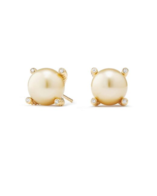 David Yurman - Metallic South Sea 18k Gold Pearl & Diamond Earrings - Lyst