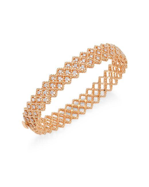 Roberto Coin | Metallic Barocco Diamond & 18k Rose Gold Bangle | Lyst