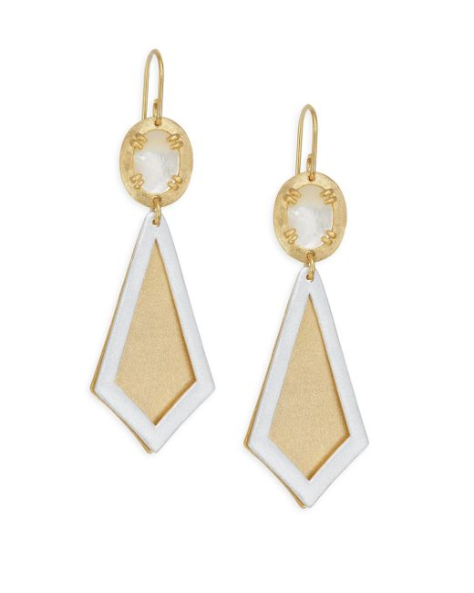 Stephanie Kantis - Metallic Ego Two-tone Brushed Goldplated & Mother-of-pearl Earrings - Lyst