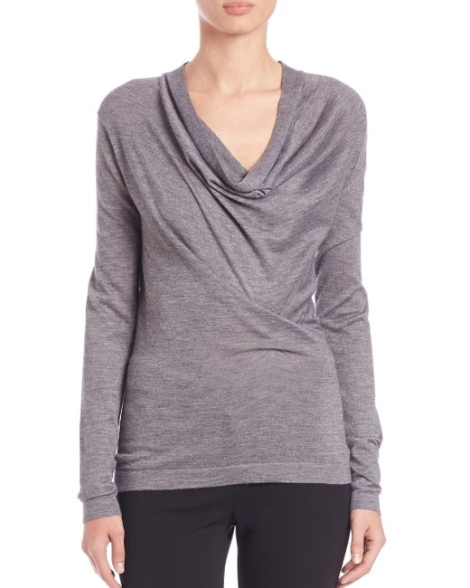 Derek Lam - Gray Draped Cowlneck Sweater - Lyst