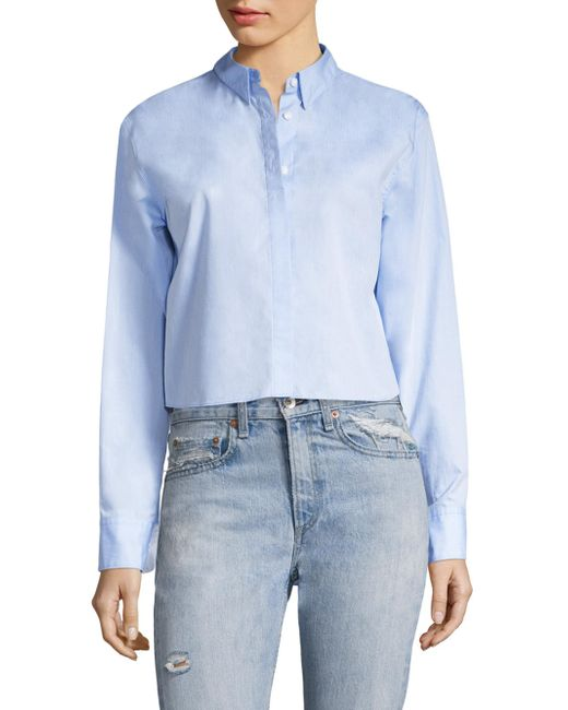 Rag & Bone | Blue Calder Reversible Cotton Poplin Shirt | Lyst
