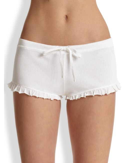 Skin - White Ruffle Drawstring Shorts - Lyst