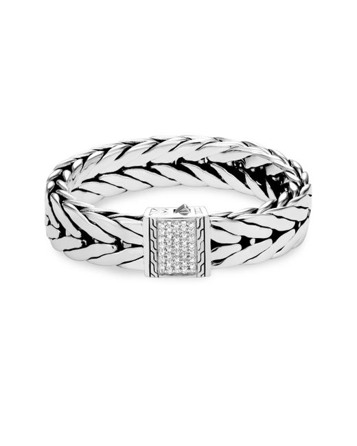 John Hardy - Metallic Sterling Silver & Diamond Clasp Modern Chain Bracelet - Lyst