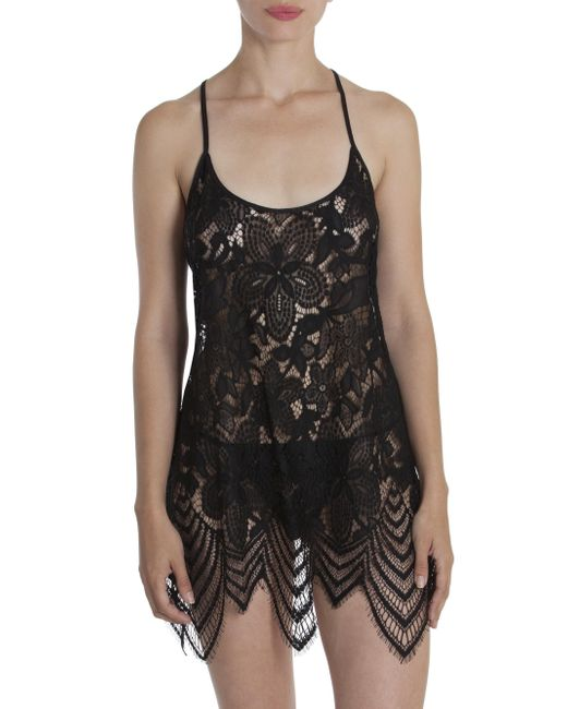 In Bloom - Black Lace Scalloped Chemise - Lyst