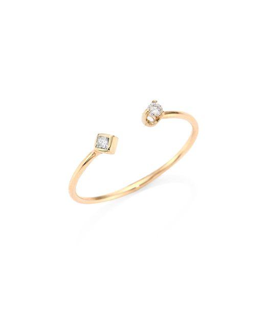Zoe Chicco - Metallic Diamond & 14k Yellow Gold Open Ring - Lyst