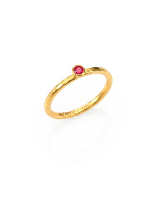 Gurhan - Metallic Delicacies Ruby & 24k Yellow Gold Skittle Stacking Ring - Lyst