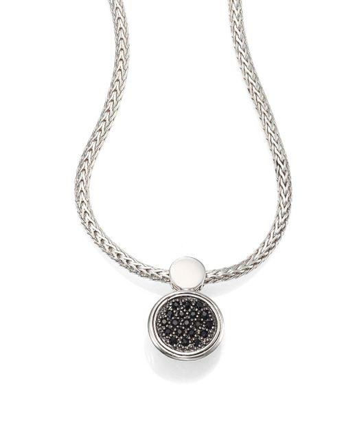 John Hardy - Metallic Dot Black Sapphire & Sterling Silver Lava Round Pendant Necklace - Silver - Lyst