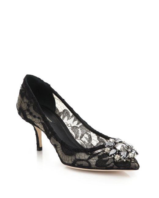 Dolce & Gabbana - Black Embellished Lace Point Toe Pumps - Lyst