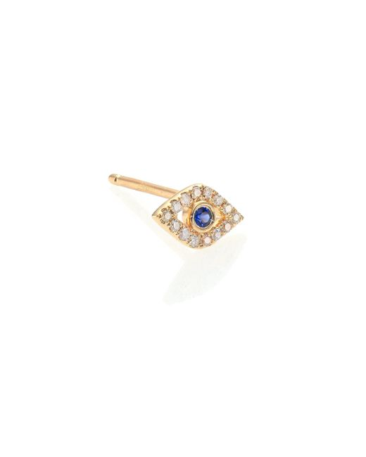 Sydney Evan | Blue Diamond, Sapphire & 14k Yellow Gold Evil Eye Single Stud Earring | Lyst
