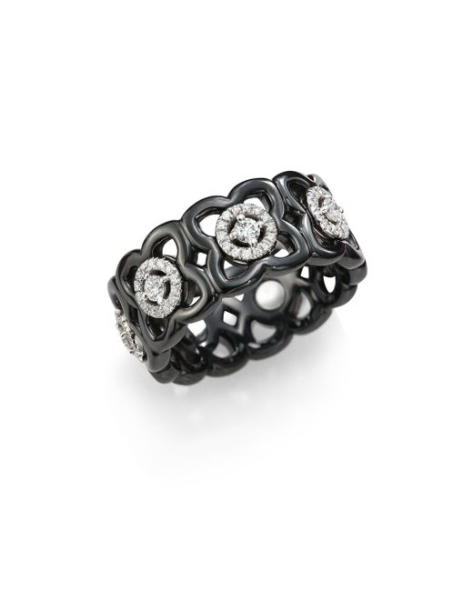 De Beers - Moonlight Enchanted Lotus Diamond, 18k White Gold & Black Ceramic Band Ring - Lyst