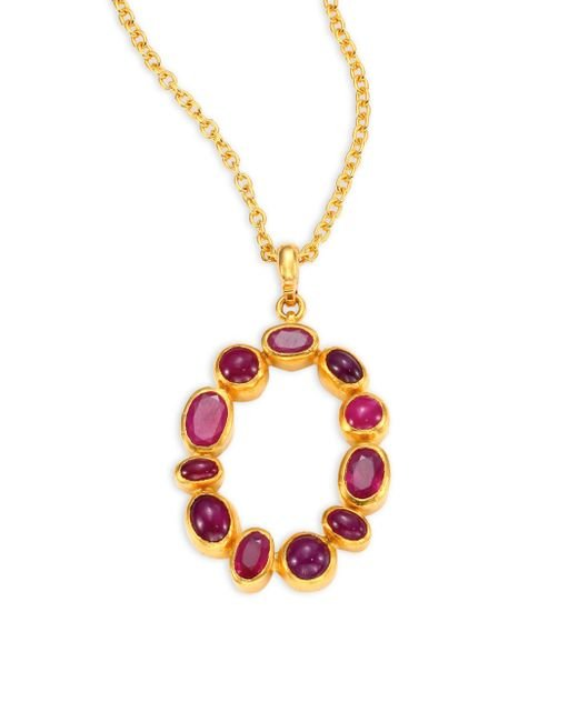 Gurhan | Metallic Amulet Hue Ruby & 24k Yellow Gold Pendant Necklace | Lyst