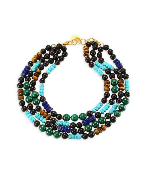 Nest - Blue Malachite Lapis Turquoise Multi Strand Necklace - Lyst