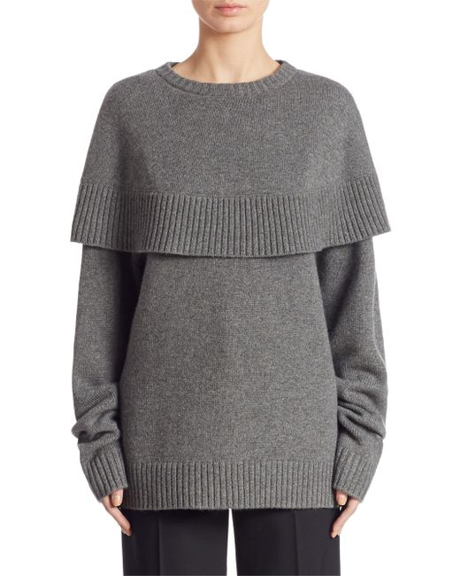 Chloé   Gray Cape Knitted Sweater   Lyst