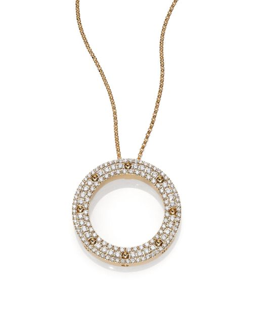 Roberto Coin | Metallic Pois Moi Diamond & 18k Yellow Gold Circle Pendant Necklace | Lyst