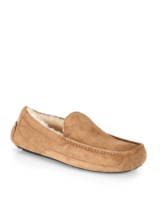 Ugg - Brown Ascot Suede And Shearling Slippers - Lyst