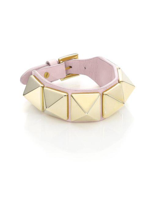 Valentino | Metallic Rockstud Large Leather Bracelet | Lyst
