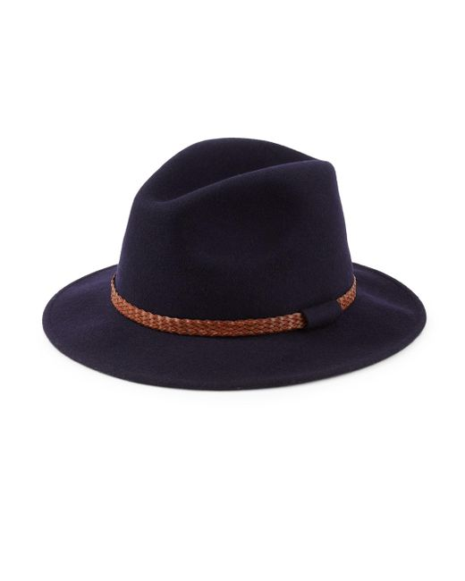 Saks Fifth Avenue - Blue Collection Braided Leather Band Wool Felt Fedora for Men - Lyst