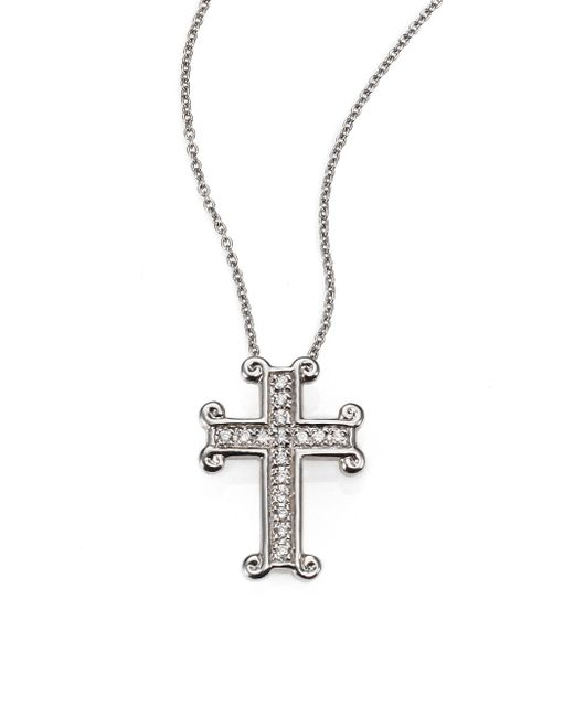 Roberto Coin - Metallic Tiny Treasures Diamond & 18k White Gold Cross Pendant Necklace - Lyst