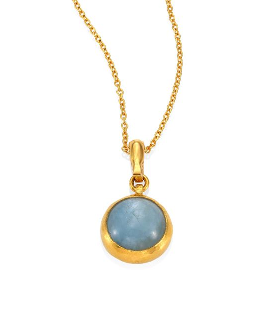 Gurhan   Metallic Amulet Hue Aquamarine & 18-24k Yellow Gold Pendant Necklace   Lyst