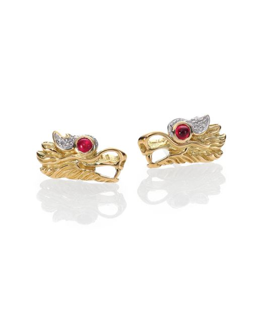 John Hardy - Metallic Naga Ruby, Diamond, Sterling Silver & 18k Yellow Gold Stud Earrings - Lyst