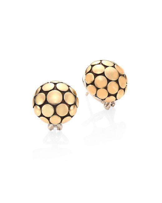 John Hardy - Metallic Dot 18k Yellow Gold Large Button Earrings - Lyst