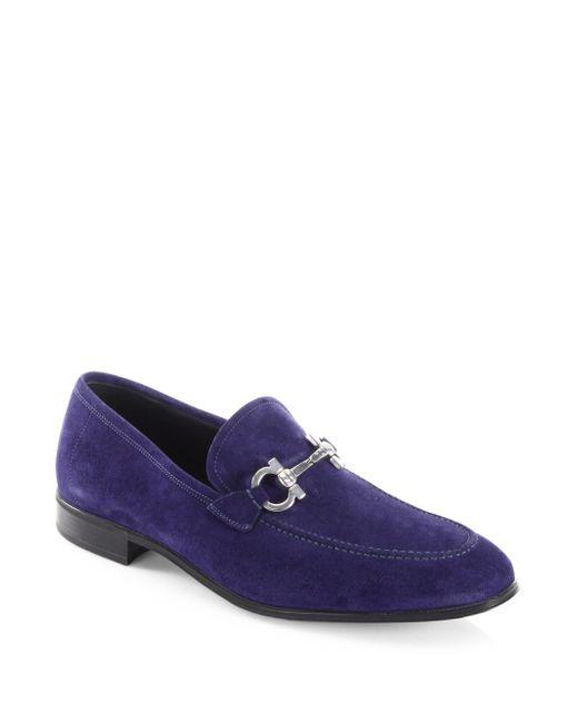 Ferragamo - Blue Pf17 Flori 2 Suede Loafers for Men - Lyst