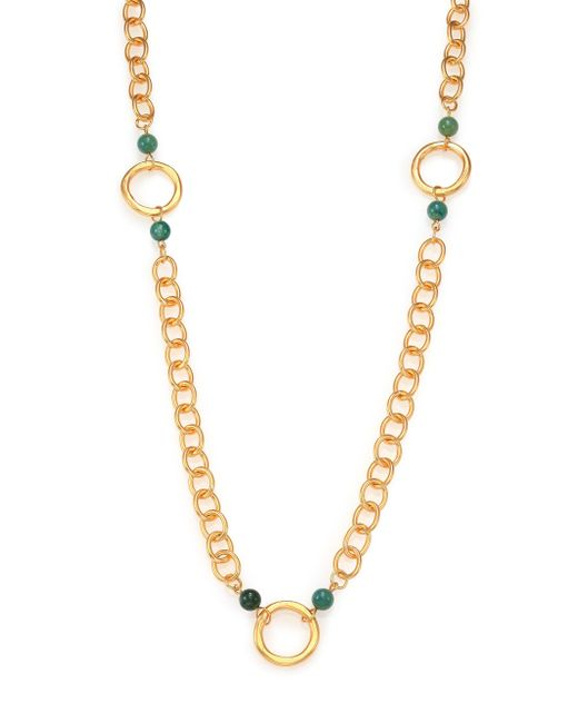 Stephanie Kantis   Metallic Infinity Green Moss Agate Beaded Station Necklace   Lyst