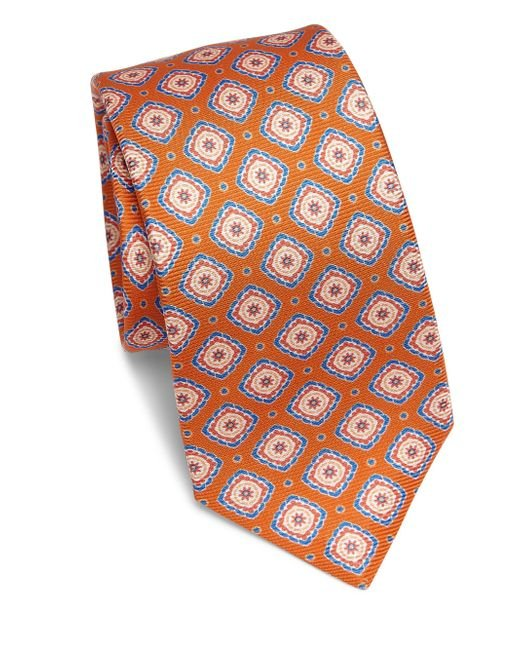 Kiton | Orange Large Medallion Silk Tie for Men | Lyst
