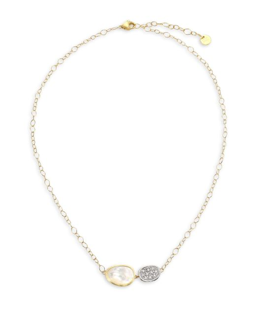 Marco Bicego | Metallic Lunaria 18k Gold Pave Diamond & Mother-of-pearl Necklace | Lyst