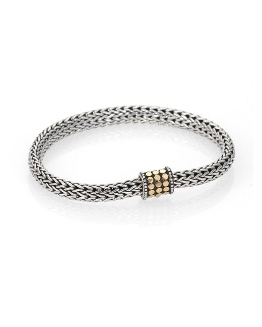 John Hardy Metallic Dot 18k Yellow Gold & Sterling Silver Extra-small Chain Bracelet
