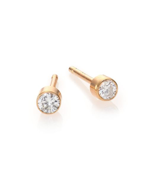 Zoe Chicco | Metallic Diamond & 14k Yellow Gold Bezel Stud Earrings | Lyst