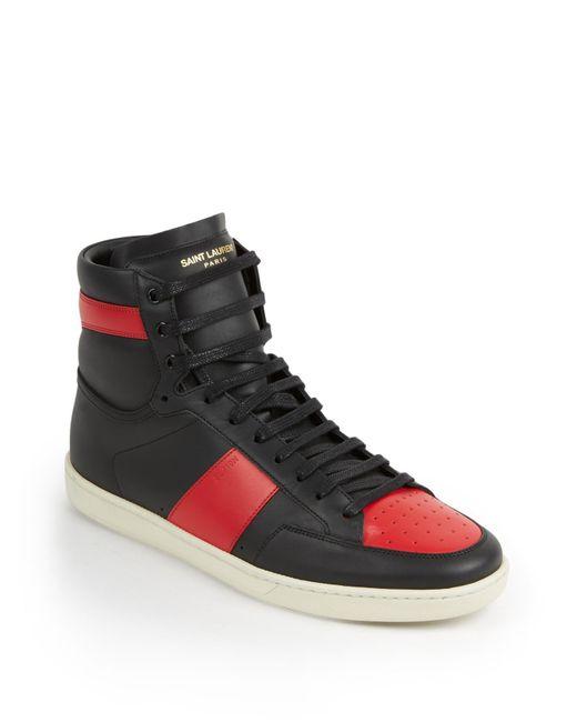 Saint Laurent | Black Colorblocked Leather High-top Sneakers for Men | Lyst
