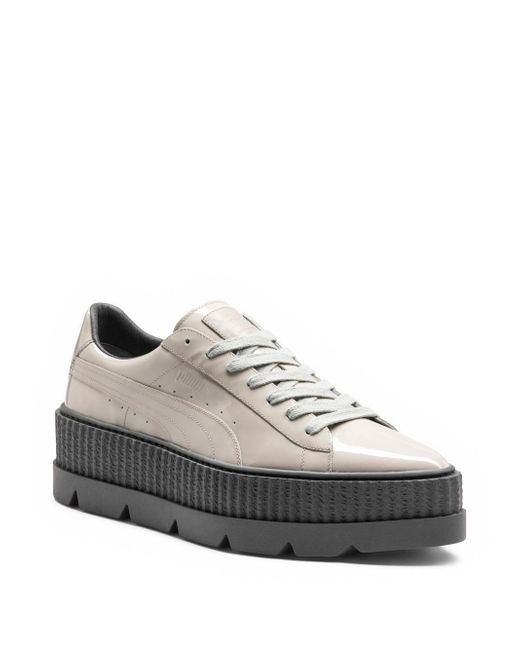 PUMA - Gray Pointy Patent Leather Creeper Sneakers - Lyst