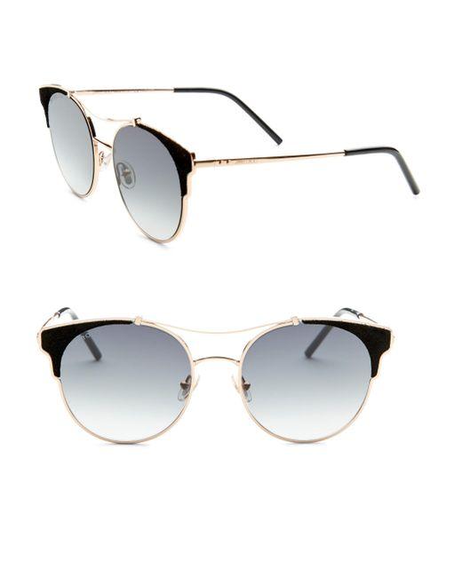 Jimmy Choo - Metallic Lues Leather Panthos Sunglasses - Lyst