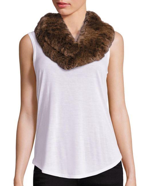 Surell | Brown Sheared Rabbit Fur Infinity Scarf | Lyst