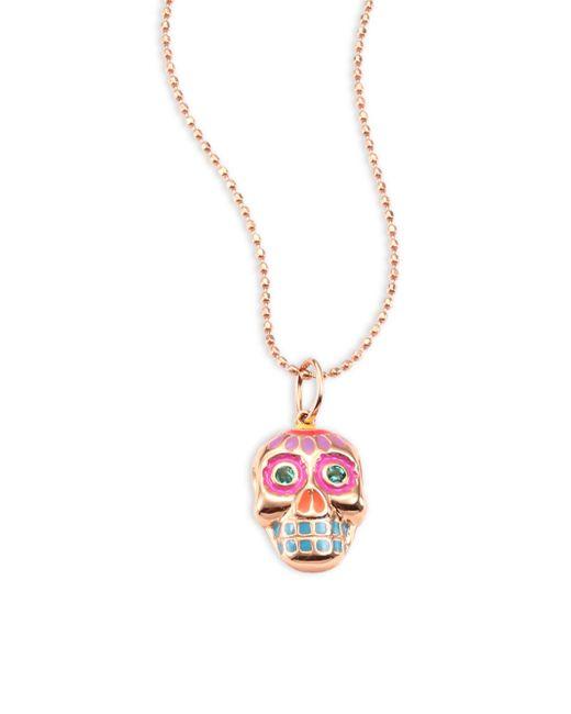 Sydney Evan - Metallic Small Sugar Skull Emerald & 14k Rose Gold Pendant Necklace - Lyst
