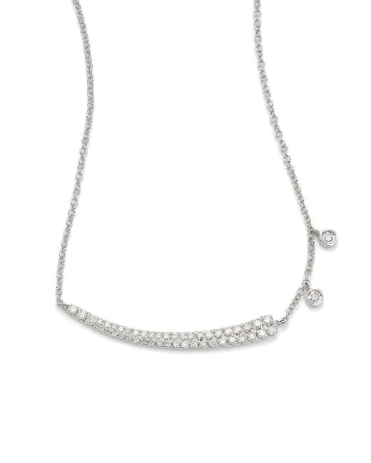 Meira T - Metallic Diamond & 14k White Gold Asymmetrical Curved Bar Necklace - Lyst