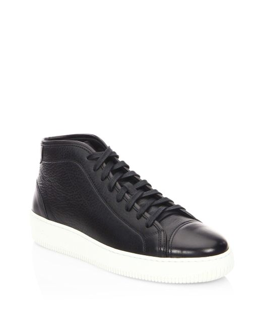 Facto | Black Mars Leather Mid Top Sneakers for Men | Lyst